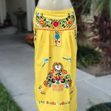 Mexican Embroidered Maxi Skirt Yellow