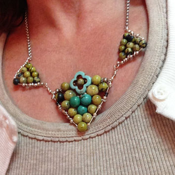 Turquoise & Yellow Gemstone Chevron Necklace Silver Chain Wire Wrapped
