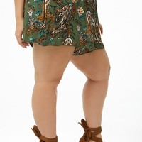 Plus Size Paisley Print Shorts