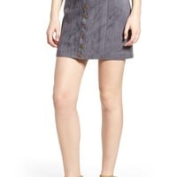 Bishop + Young Front Snap Faux Suede Miniskirt | Nordstrom