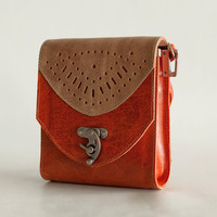 Orange purse, small leather crossbody bag - Free Shipping - the Minnie