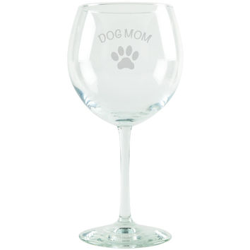 Dog Mom Etched Red Wine Glass