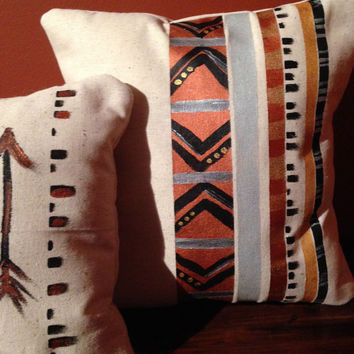 Decorative Pillow Set of Two, Dots Dashes and Arrows- Copper and gold