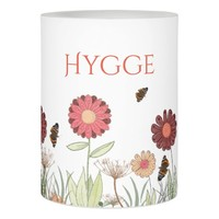 Hygge with painted floral pattern burgundy meadow flameless candle