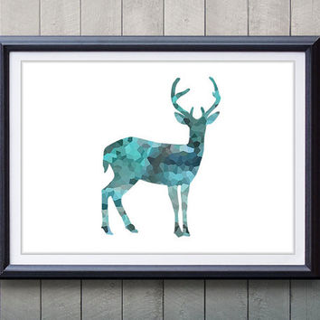 Antler, Stag, Blue Deer Print - Minimalist Art - Silhouette Poster Art - Wall Decor, Home Decor, House Warming Gifts