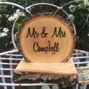 Rustic Wedding Table Decoration Sign Mr Mrs Personalized Custom Wood Burned
