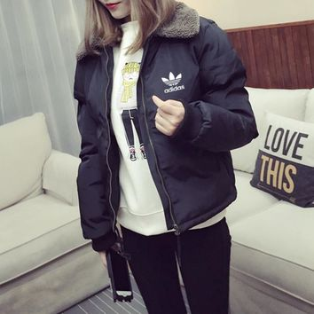 """Adidas"" Women Fashion Zip Cardigan Long Sleeve Thickened Cotton-padded Clothes Jacket Coat"