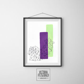 Abstract Art Large 13x19 inch Print Radiant Orchid and Mint Geometric Minimalist Art, Triangle Shapes Textured Archival Print