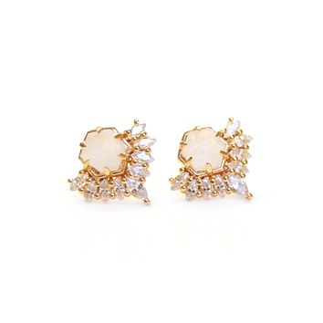 Rose Gold Rainbow Moonstone & Diamond Petite Cherie Studs