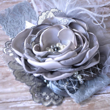 Skylar boutique couture headband-Grey satin flower-photo prop-wedding-newborn to adult-vintage inspired-Persnickety-Over the top