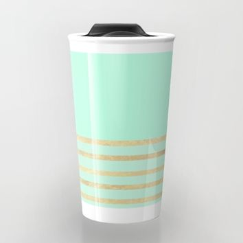 Mint and Gold stripes Travel Mug by Xiari | Society6
