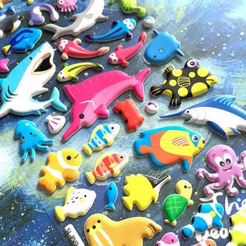 big fish sea animal sticker deep blue sea shark sea seal rare fish puffy sticker sea world fish world colorful fish underwater theme sticker