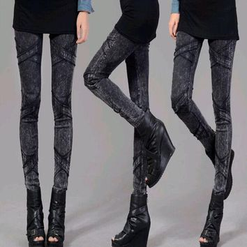 VONESC6 New Arrival! Black Jegging Jeans for Women 2014 Ribbed Thighs Light Wash Design Two Colours Three Size with High Elasticity