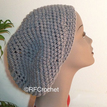 Heather Gray Round Slouchy Tam | Slouchy Beret | Adult Beanie | Slouchy Beanie | Classic Tam | Custom Orders | Free Shipping in USA