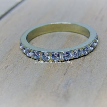 Titanium wedding band paved CZ gemstones womens eternity ring 3mm engagement rings