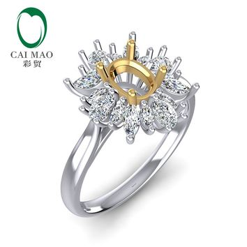 Caimao  0.92ct Marquise and round Diamond 5x7mm Oval Cut  14k White & Yellow Gold Ring Prong Party
