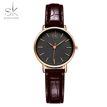 Shengke Fashion Women Watches Women Wristwatches Leather Band Watches Female Bracelet watches Quartz Watch High Cost Effective