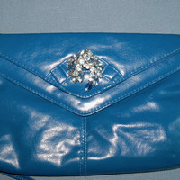 Purse Blue Restyled Clutch Vintage Rhinestone Brooch Glam Wedding Bridal Party Prom Gift for Her Mothers Day Christmas Birthday