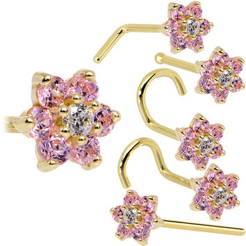Solid 14KT Yellow Gold Pink and Clear Cubic Zirconia Flower Nose Ring
