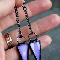 lavender dangle earrings modern arrow geometric minimalist purple periwinkle gunmetal long earrings stained glass LAVENDER ARROW EARRINGS