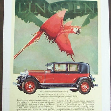 Vintage Lincoln Town Sedan by Willoughby Ad / Red Parrot on back of 1928 House & Garden Magazine Cover