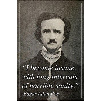 original quote poster EDGAR ALLEN POE renowned author SPOOKY 24X36 new RARE