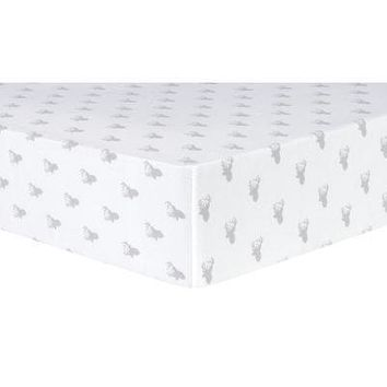 Gray Stag Silhouettes Deluxe Flannel Fitted Crib Sheet