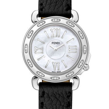 Fendi Ladies Selleria Stainless Steel Round Watch Case with Diamond Bezel