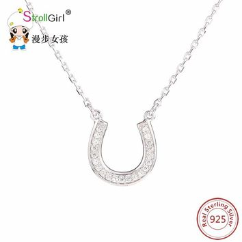 Silver 925 horseshoe CZ Necklaces Pendants 925 Sterling Silver Necklace for Women lovely Pendant Silver Chain Collier Friend