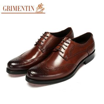 GRIMENTIN Brand UK designer men oxfords shoes genuine leather wingtip carved classic mens formal shoes