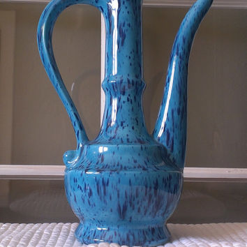 Pottery Pitcher Vase 1973 Glaze Signed Blue with Royal Blue Specs Boho Excellent Condition Hookah Genie in a Bottle