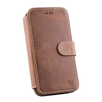 iPhone X Leather Wallet Detachable Phone Case | 100% Top Grain Cowhide Leather iPhone X Wallet Case | Magnetic Car Vent Mount Included | Magnetic Locking System | Kickstand Feature | WILKEN | Brown