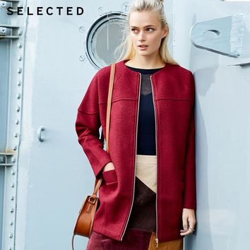 Selected Brand wool blended cocoon-shaped ladies leisure long woolen overcoat man |415327001