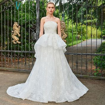 Dressv Strapless Ball Gown Long Wedding Dress Sleeveless Lace Ruffles Cathedral Train Dream Church Princess Wedding Dresses