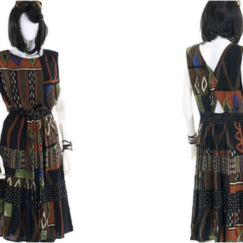 Vintage Jumper Dress Cutout Tribal Graphic Print Sundress