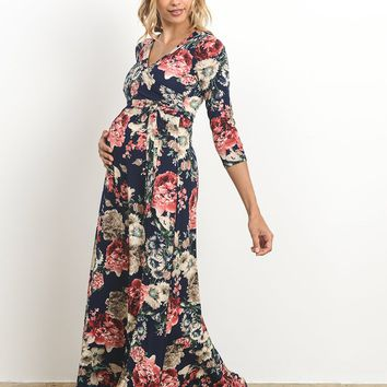 Floral Maternity & Nursing Wrap Maxi Dress