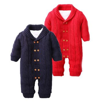 2017 Winter Baby Romper Boys Girls Jumpsuit Winter Coveralls Jersey Soft Hooded Warm Knitted Thicken Infant Baby Clothes Outfits