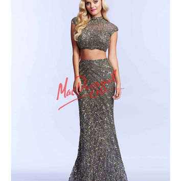 Platinum & Gold Two Piece High Neck Beaded Dress
