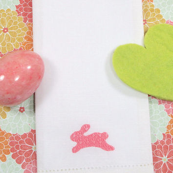Embossed Easter Bunny Embroidered Cloth Napkins /Set of 4/ Easter napkins, Spring napkins,  Easter cloth, Custom Easter, personalized Easter