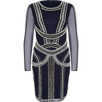 River Island Womens Blue pearl embellished bodycon dress