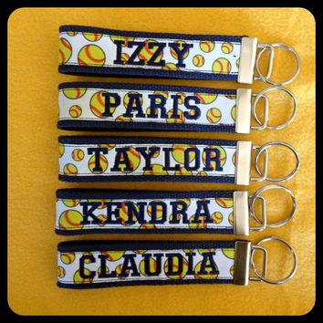 Personalized Key Chains: Softball, Baseball, Basketball, Football, Soccer, and Volleyball. Great team gifts