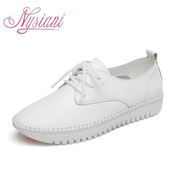 Nysiani Leather Flat Shoes For Women 2017 Spring Summer Fashion Casual White Loafers S