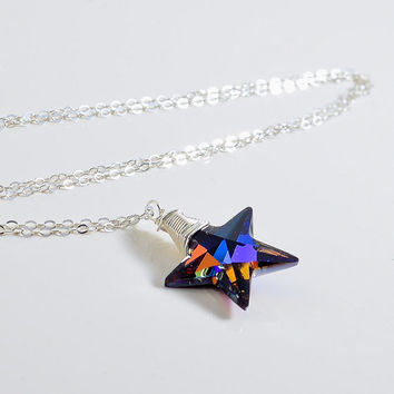 Swarovski Crystal Star Necklace, Bermuda Blue Crystal, Sterling Silver, Wire Wrapped, Star Charm Necklace