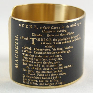 Literary Stage Play - Shakespeare Jewelry - Macbeth Quote Brass Cuff Bracelet