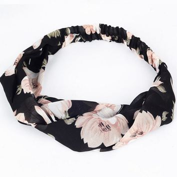 Women Headband Floral Wide Stretch Hair Band Elastic Turban Floral Twisted Knotted Headband Hair Accessories