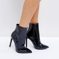 Public Desire Harlee High Shine Black Heeled Ankle Boots at asos.com