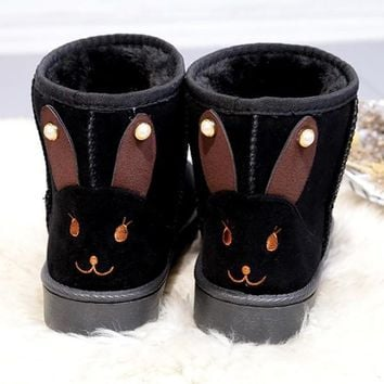 New Black Round Toe Flat Rabbit Ears Pearl Casual Boots