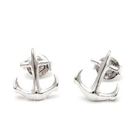 anchor studs, anchor earrings, anchor jewelry, man studs, fashion trend, unique studs, simple studs, silver studs,sailing, summer jewelry