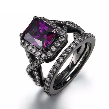 Luxurious Black Gun Plated Purple Amethyst Crystal Fashionable Ring