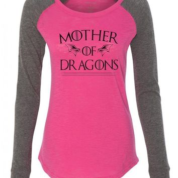 "Womens ""Mother Of Dragons"" Long Sleeve Elbow Patch Contrast Shirt"